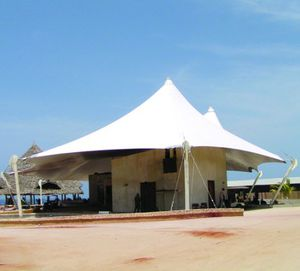 cable-and-membrane tensile structure / roof / with polyester membrane / for special events
