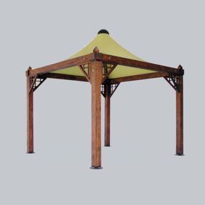 wooden gazebo / fabric roof / for bar / for parking lots