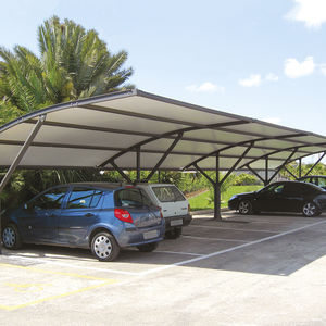 canvas carport / PVC / commercial / with integrated photovoltaic panel
