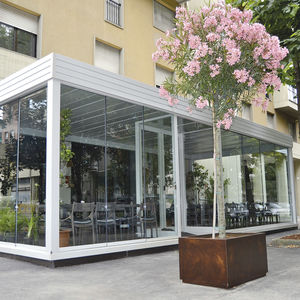self-supporting pergola / glass / PVC fabric sliding canopy / commercial