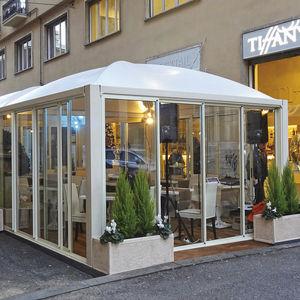 PVC gazebo / galvanized steel / fabric roof / for bar