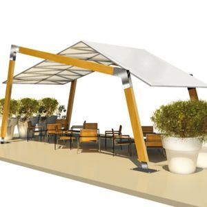 self-supporting pergola / wooden / PVC fabric sliding canopy / commercial