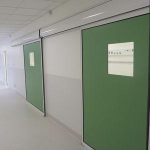 sliding industrial doors / metal / semi-glazed / interior