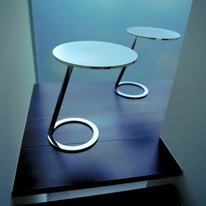 contemporary side table / lacquered aluminum / polished steel / chrome