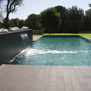 polymer block swimming pool / natural / in-ground / wooden