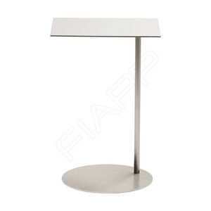 contemporary side table / brushed stainless steel / square / commercial