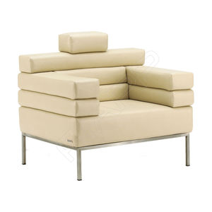 contemporary armchair / wooden / leather / steel