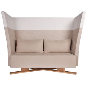 contemporary sofa / leather / wood / commercial