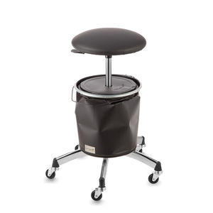 metal styling stool / on casters / adjustable / with footrest