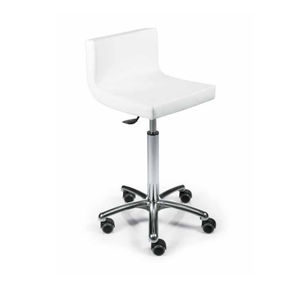 metal styling stool / on casters / white