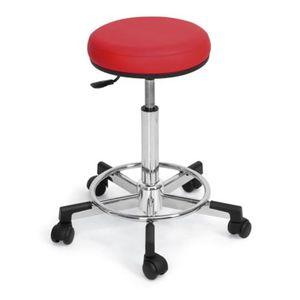 metal styling stool / upholstered / on casters / red