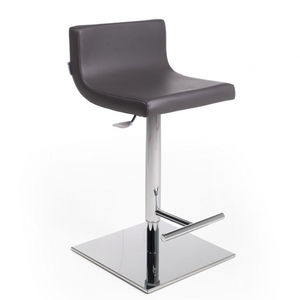 stainless steel styling stool / with footrest / black