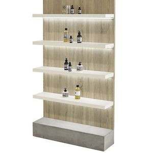 beauty product display rack / laminate / concrete / backlit