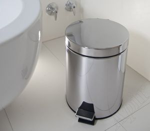 kitchen trash can / bathroom / stainless steel / foot-operated