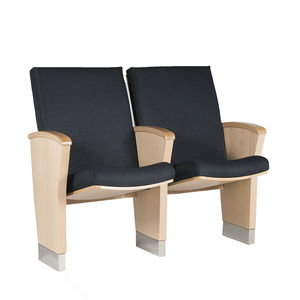 contemporary auditorium seating / fabric / solid wood / folding
