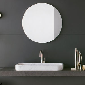 wall-mounted bathroom mirror / contemporary / square / round