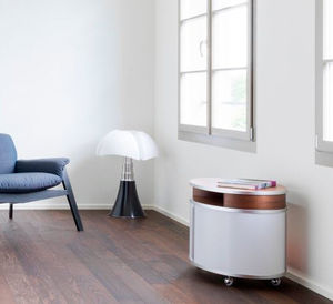 contemporary side table / walnut / ash / glass