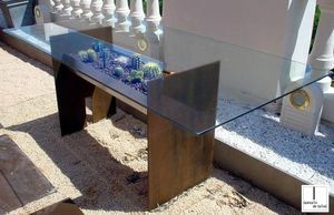 contemporary table / stainless steel / rectangular / garden