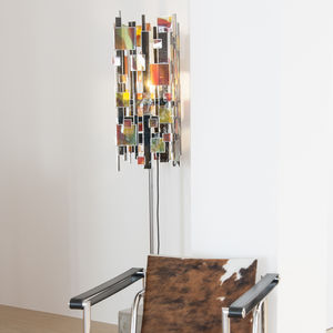 blown glass panel / patterned / for interior / colored