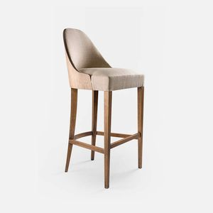 contemporary bar chair / upholstered / with footrest / fabric