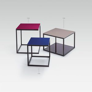 contemporary coffee table / metal / laminate / square