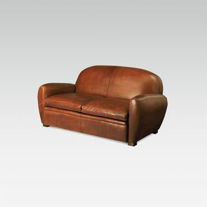 traditional sofa / leather / for hotel / 3-seater