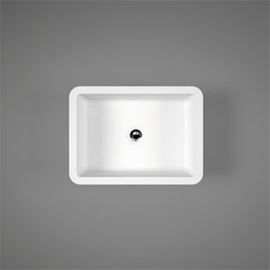 countertop hand basin / rectangular / Solid Surface / commercial