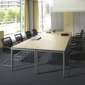 contemporary boardroom table / wooden / lacquered steel / rectangular