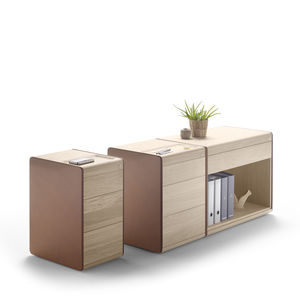 low filing cabinet / wooden / leather / contemporary