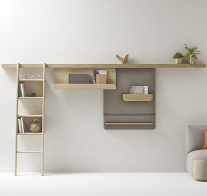 wall-mounted shelving system / contemporary / solid wood / home