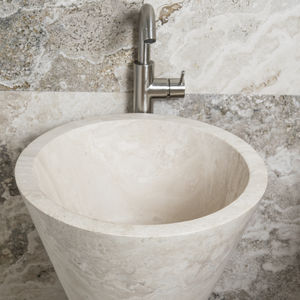 free-standing washbasin / conical / travertine / contemporary