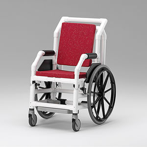 fabric medical chair / on casters / with legrest / manual