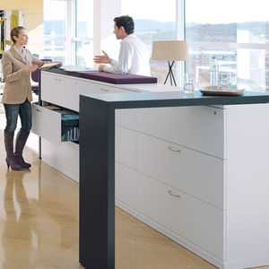 low filing cabinet / tall / wooden / laminate