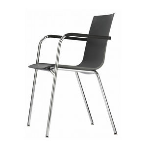 contemporary visitor chair / with armrests / stackable / molded plywood