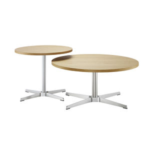 contemporary side table / wooden / steel / round