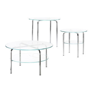 contemporary side table / glass / chromed metal base / round