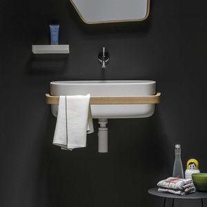 wall-mounted washbasin / rectangular / Cristalplant® / polyurethane