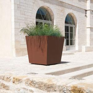 stainless steel planter / COR-TEN® steel / square / contemporary