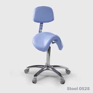metal task stool / synthetic leather / for beauty salons / on casters