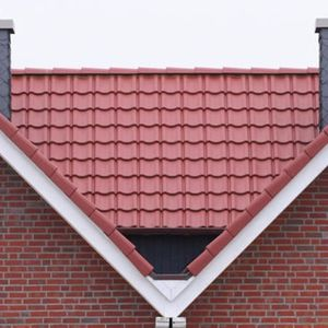 french roof tile / concrete / red / smooth