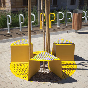 contemporary stool / galvanized steel / for public spaces / commercial