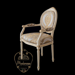 classic chair / upholstered / with armrests / medallion