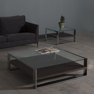 contemporary coffee table / oak / walnut / lacquered MDF