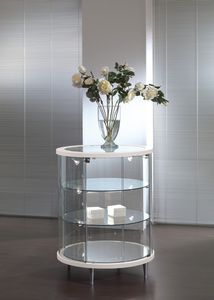 contemporary display case / with legs / lacquered wood / glass