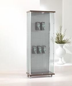 periodicals display rack / glass / on casters / backlit