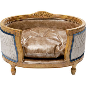 wooden dog bed / leather