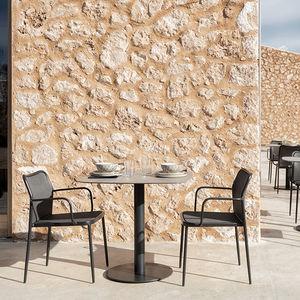 contemporary bistro table / HPL / aluminum / porcelain