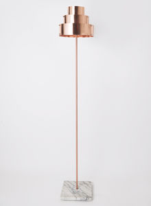 floor-standing lamp / contemporary / polished copper / marble