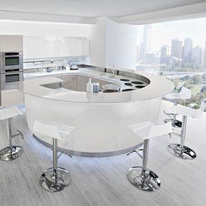 contemporary kitchen / laminate / round / lacquered