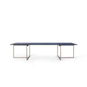 contemporary table / marble / metal base / rectangular